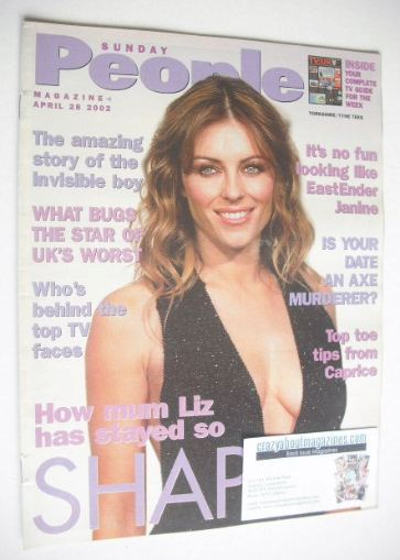 <!--2002-04-28-->Sunday People magazine - 28 April 2002 - Liz Hurley cover