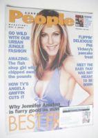 <!--2002-05-05-->Sunday People magazine - 5 May 2002 - Jennifer Aniston cover