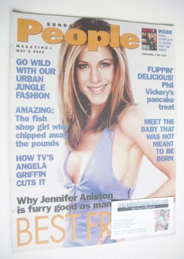 <!--2002-05-05-->Sunday People magazine - 5 May 2002 - Jennifer Aniston cov