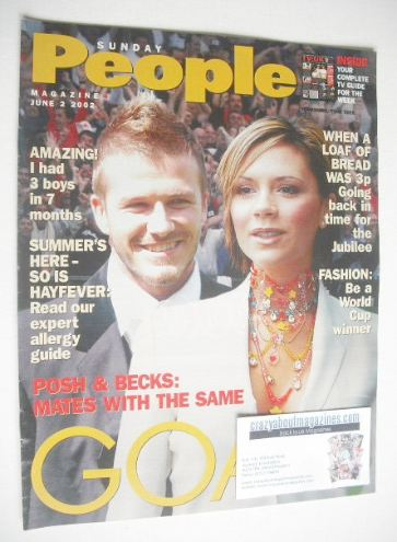 <!--2002-06-02-->Sunday People magazine - 2 June 2002 - David and Victoria