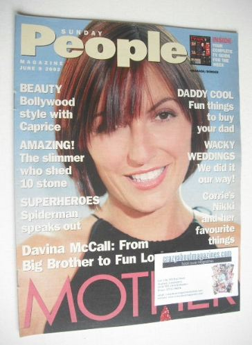 <!--2002-06-09-->Sunday People magazine - 9 June 2002 - Davina McCall cover
