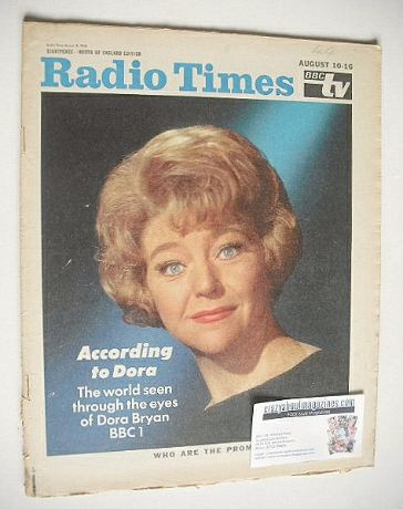 <!--1968-08-10-->Radio Times magazine - Dora Bryan cover (10-16 August 1968