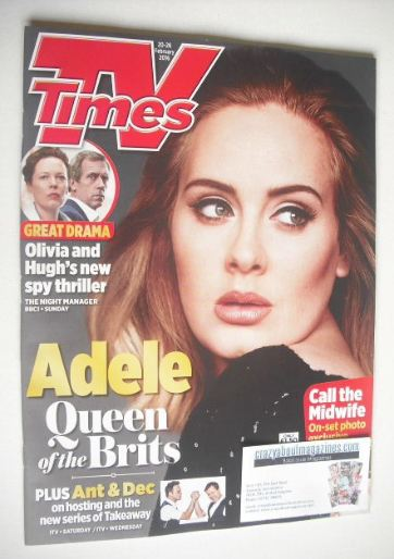 <!--2016-02-20-->TV Times magazine - Adele cover (20-26 February 2016)