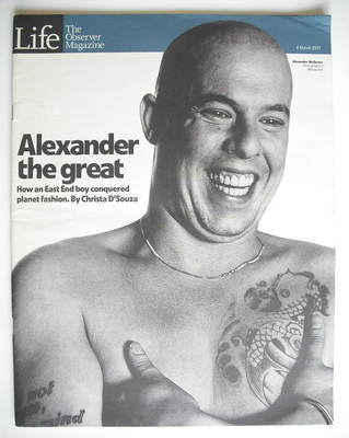 <!--2001-03-04-->The Observer magazine - Alexander McQueen cover (4 March 2
