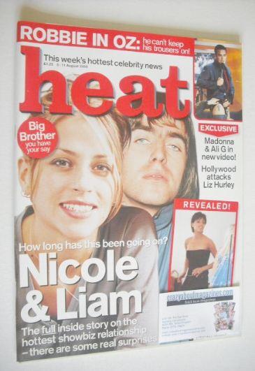 <!--2000-08-05-->Heat magazine - Nicole Appleton and Liam Gallagher cover (