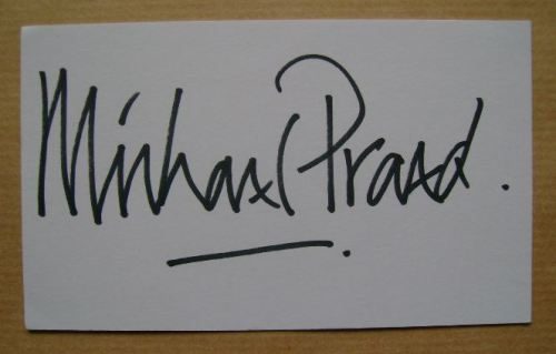 Michael Praed autograph (hand-signed white card)