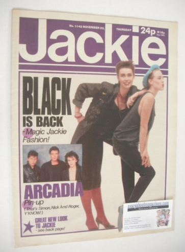 <!--1985-11-23-->Jackie magazine - 23 November 1985 (Issue 1142)
