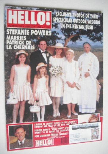 <!--1993-04-17-->Hello! magazine - Stefanie Powers wedding cover (17 April