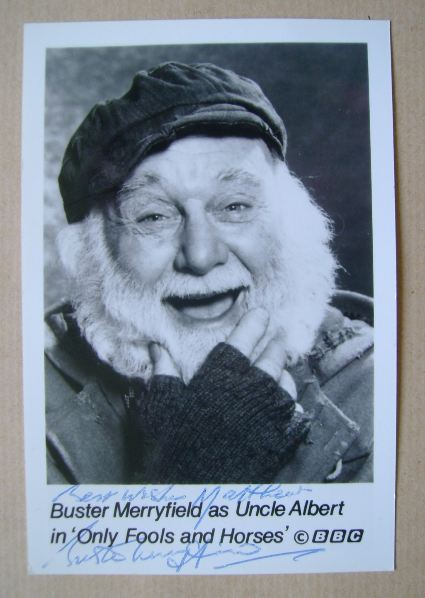Buster Merryfield autograph (hand-signed Only Fools and Horses cast card)