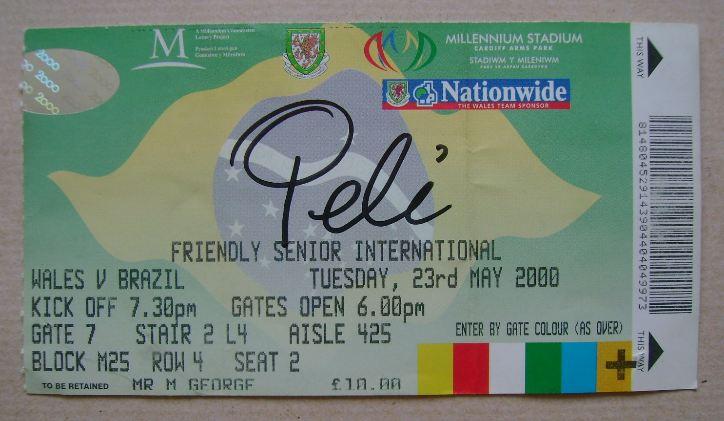 Pele autograph (hand-signed ticket)