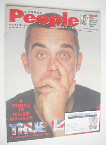 <!--1999-02-21-->Sunday People magazine - 21 February 1999 - Robbie William