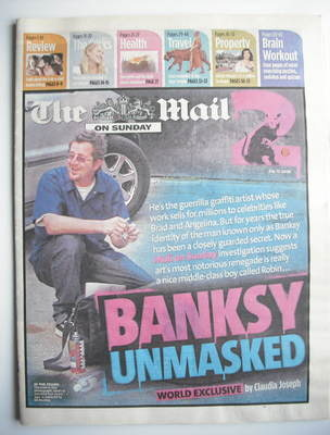 The Mail on Sunday 2 newspaper supplement - Banksy Unmasked cover (13 July