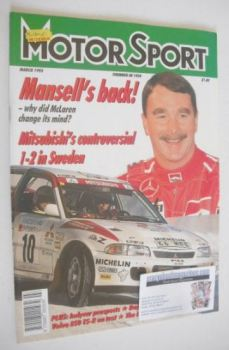 Motorsport Magazine - March 1995 - Nigel Mansell cover