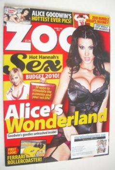 Zoo magazine - Alice Goodwin cover (26 March - 1 April 2010)