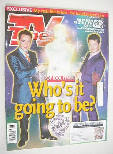 <!--2002-02-09-->TV Times magazine - Ant & Dec cover (9-15 February 2002)