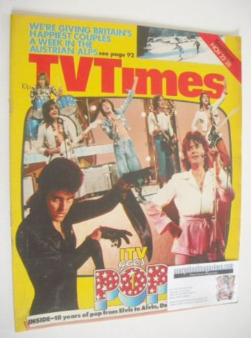 <!--1975-11-22-->TV Times magazine - ITV Goes Pop cover (22-28 November 197
