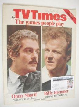 TV Times magazine - Omar Sharif & Billy Bremner cover (16-21 June 1974)
