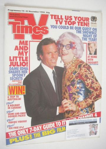 <!--1990-12-15-->TV Times magazine - Dame Edna and Julio Iglesias cover (15