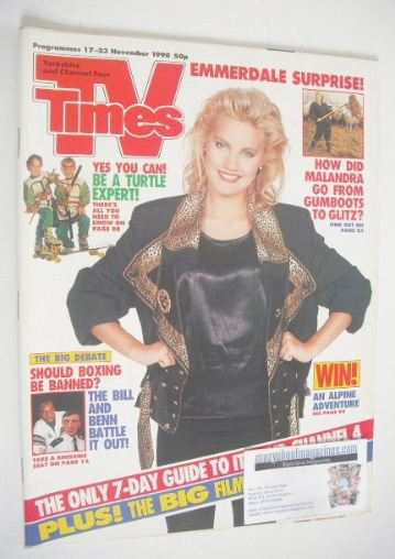 <!--1990-11-17-->TV Times magazine - Malandra Burrows cover (17-23 November