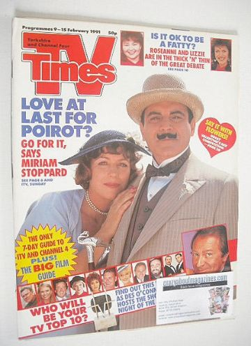 <!--1991-02-09-->TV Times magazine - Poirot cover (9-15 February 1991)