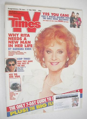 <!--1991-01-26-->TV Times magazine - Barbara Knox cover (26 January - 1 Feb