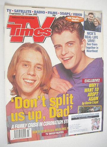 <!--1993-06-12-->TV Times magazine - Simon Gregson and Nick Cochrane cover