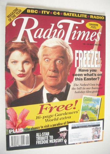 <!--1992-04-18-->Radio Times magazine - Leslie Nielsen and Priscilla Presle