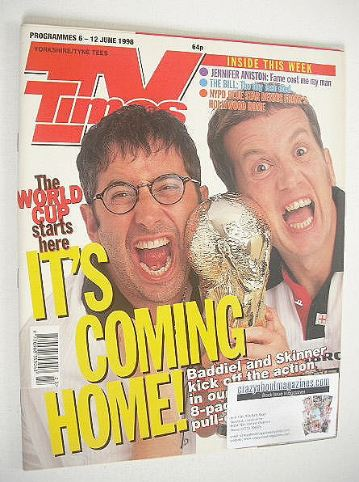 <!--1998-06-06-->TV Times magazine - Baddiel and Skinner cover (6-12 June 1