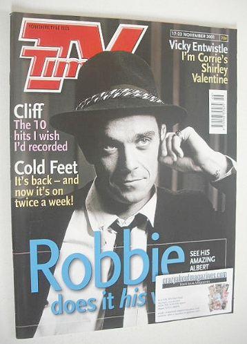 <!--2001-11-17-->TV Times magazine - Robbie Williams cover (17-23 November