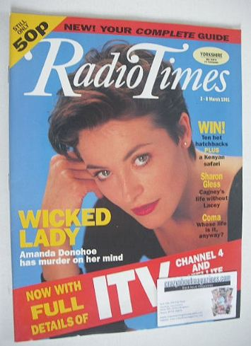 <!--1991-03-02-->Radio Times magazine - Amanda Donohoe cover (2-8 March 199