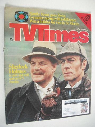 <!--1977-11-26-->TV Times magazine - Sherlock Holmes cover (26 November - 2