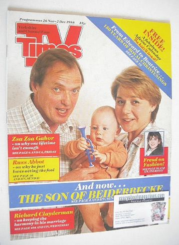 <!--1988-11-26-->TV Times magazine - Barbara Flynn and James Bolam cover (2