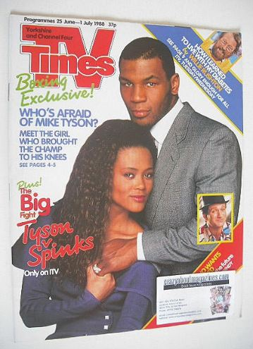 <!--1988-06-25-->TV Times magazine - Mike Tyson and Robin Givens cover (25