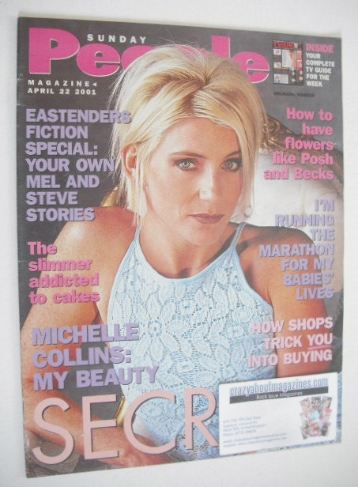 <!--2001-04-22-->Sunday People magazine - 22 April 2001 - Michelle Collins