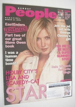 <!--2001-03-11-->Sunday People magazine - 11 March 2001 - Lisa Faulkner cover