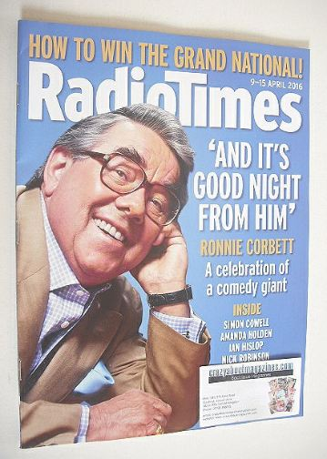 <!--2016-04-09-->Radio Times magazine - Ronnie Corbett cover (9-15 April 20