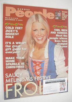 Sunday People magazine - 9 December 2001 - Melinda Messenger cover