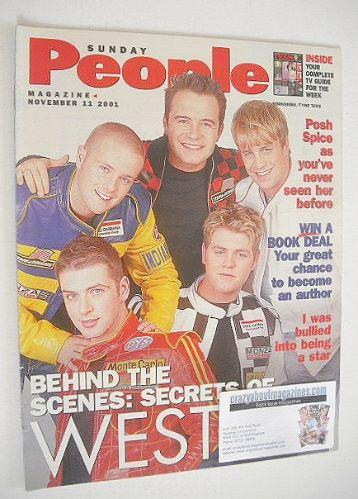 <!--2001-11-11-->Sunday People magazine - 11 November 2001 - Westlife cover
