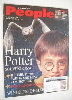 Sunday People magazine - 28 October 2001 - Harry Potter cover