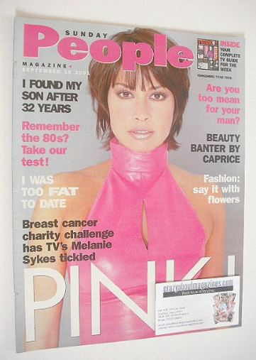 <!--2001-09-16-->Sunday People magazine - 16 September 2001 - Melanie Sykes