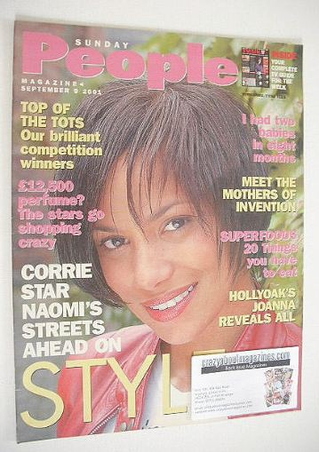 <!--2001-09-09-->Sunday People magazine - 9 September 2001 - Naomi Russell