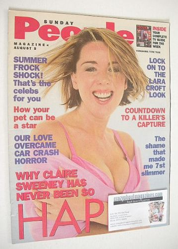 <!--2001-08-05-->Sunday People magazine - 5 August 2001 - Claire Sweeney co