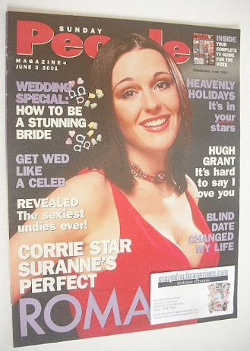 <!--2001-06-03-->Sunday People magazine - 3 June 2001 - Suranne Jones cover
