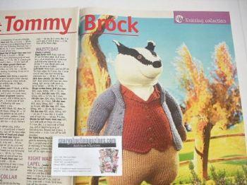 Beatrix Potter Tommy Brock toy knitting pattern (by Alan Dart)