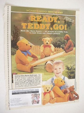 The Three Bears knitting pattern (designed by Alan Dart)