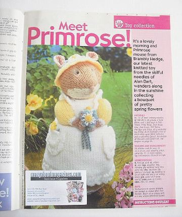 Brambly Hedge Primrose mouse toy to knit (designed by Alan Dart)