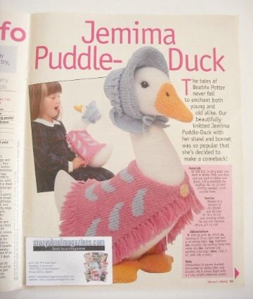 Beatrix Potter Jemima Puddle Duck Toy Knitting Pattern Designed By