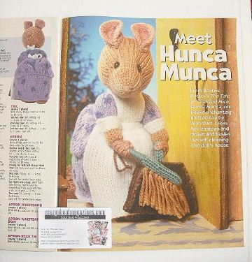 Beatrix Potter Hunca Munca toy knitting pattern (designed by Alan Dart)