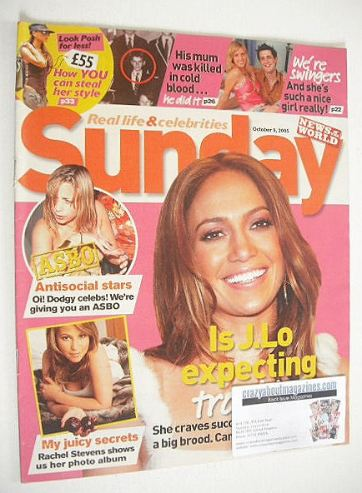 <!--2005-10-09-->Sunday magazine - 9 October 2005 - Jennifer Lopez cover