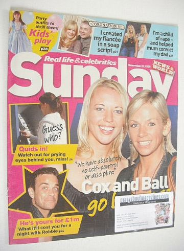 <!--2005-10-09-->Sunday magazine - 9 October 2005 - Sara Cox and Zoe Ball c